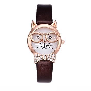 Longra☀☀Diseño especial patrón gato banda de cuero analógico cuarzo vogue reloj ((A)Marrón): Amazon.es: Deportes y aire libre
