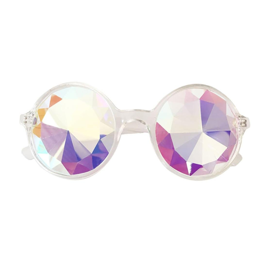 Sunfei Kaleidoscope Glasses Rave Festival Party EDM Sunglasses Diffracted Lens (Clear)