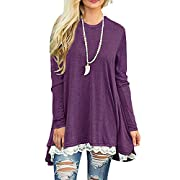 Afibi Women Lace Long Sleeve A-line Swing T-Shirt Loose Tunic Top Blouse (Large, Purple)