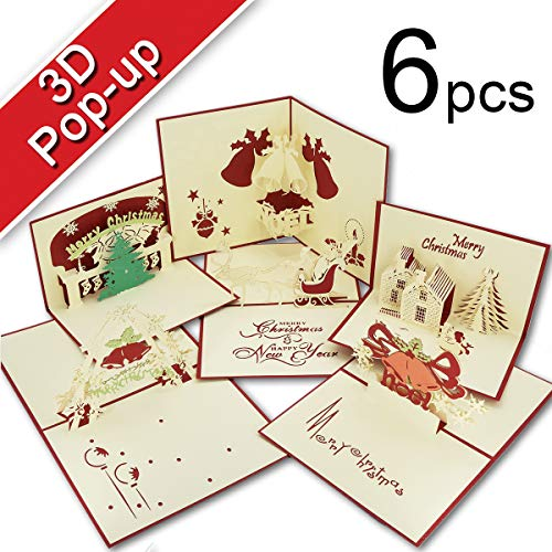 Christmas Cards, T-Antrix 3D Pop up Holiday Gift Greeting Cards for Xmas/New Year-6 Cards & Envelopes (Red)