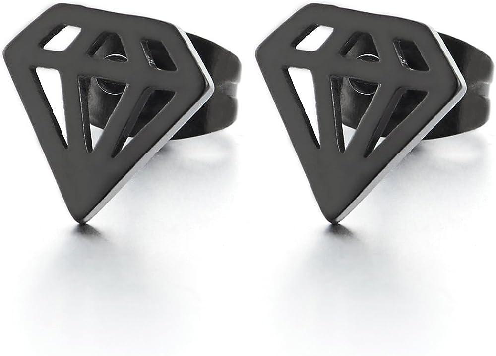 Negro Forma de Diamante, Pendientes de Hombres Mujer, Acero Inoxidable, 2 Piezas