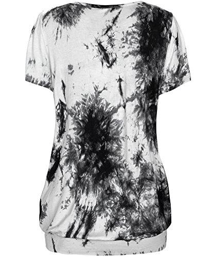 KorMei - Camiseta - Túnica - Efecto teñido - Manga corta - para mujer Tie Dye Grey#2