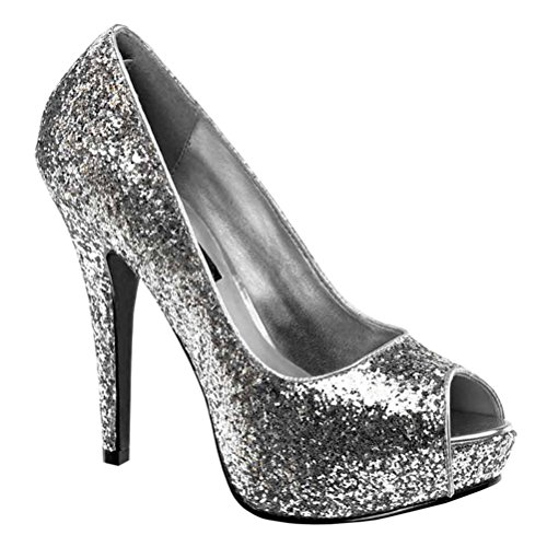 5 1/4 Glitter Peep to Pumps High Heel Platform Sexy Shoes Glamour Style Size: 11 Colors: - Heel Platforms Glamour High
