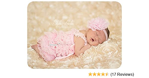 7555348d171 Amazon.com  2pcs Baby Pink Petti Lace Romper Set w Extra Headband ...