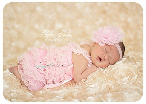 2pcs Baby Pink Petti Lace Romper Set w Extra Headband , Baby Girl Pink Romper Set, Baby Girl Bring Home Outfit