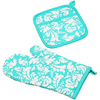 Yourtablecloth Set of Oven Mitt and Pot Holder or Oven Gloves-100% Cotton, High Heat Resistance, Superior Protection & Comfort–Elegant Design-Machine Washable-Turquoise