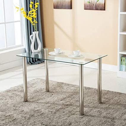 8f0f8717798 Image Unavailable. Image not available for. Color  Mecor Dining Table  Modern Minimallist Glass Kitchen Table Rectangular Transparent ...