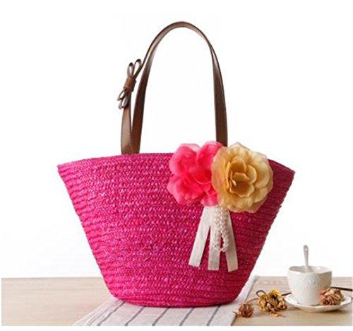 Rattan Woven Women Shuolder Bags Two Beautiful Flowers Straw Beach Handbags Bolsos De Compras De Alta Calidad J135 Army Green rose red