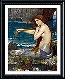 Alonline Art A Mermaid Waterhouse Black FRAMED POSTER (Print on 100% Cotton CANVAS on foam board) - READY TO HANG | 25''x31'' | Frame Framed Posters Framed Print Framed Wall Art Giclee Framed Paints