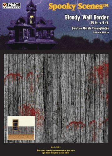 Halloween Spooky Scenes Bloody Wall Border - 25 feet x 4 (Halloween Borders For Paper)