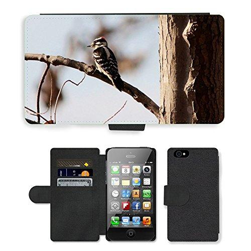 Just Phone Cases PU Leather Flip Custodia Protettiva Case Cover per // M00127749 Pic mineur oiseau mâle // Apple iPhone 4 4S 4G