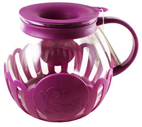 Ecolution Micro-Pop Microwave Popcorn Popper 3QT - Temperature Safe Glass w/Multi Purpose Lid, Family Size (Purple)