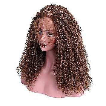 Malajo EEWigs Mujer Peluca Lace Front Sintéticas Largo Kinky rizado Castaño Con mechones Largo Peluca natural