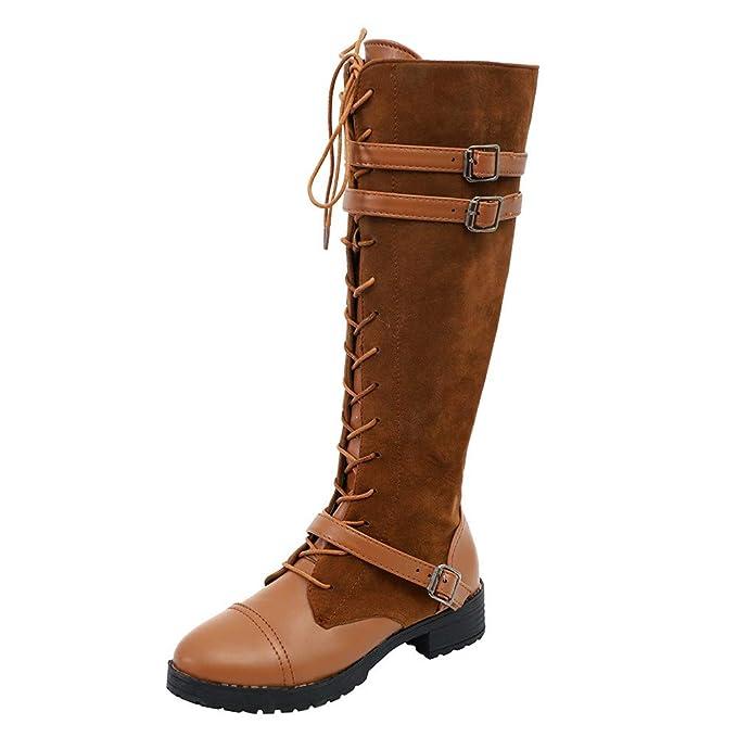 ZODOF Botas Planos Alto Top de Medieval Style para Mujer,Botas de Estilo Militar Medio de Moda Zapatos de Mujer de Hebilla de Cuero Artificial Patchwork: ...