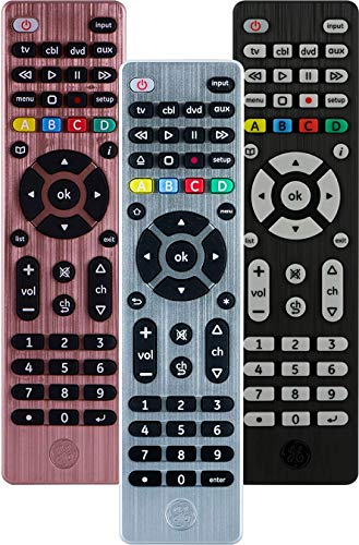 (GE Universal Remote Control for Samsung, Vizio, LG, Sony, Sharp, Roku, Apple TV, RCA, Panasonic, Smart TVs, Streaming Players, Blu-ray, DVD, Simple Setup, 4-Device, Silver, 33709)