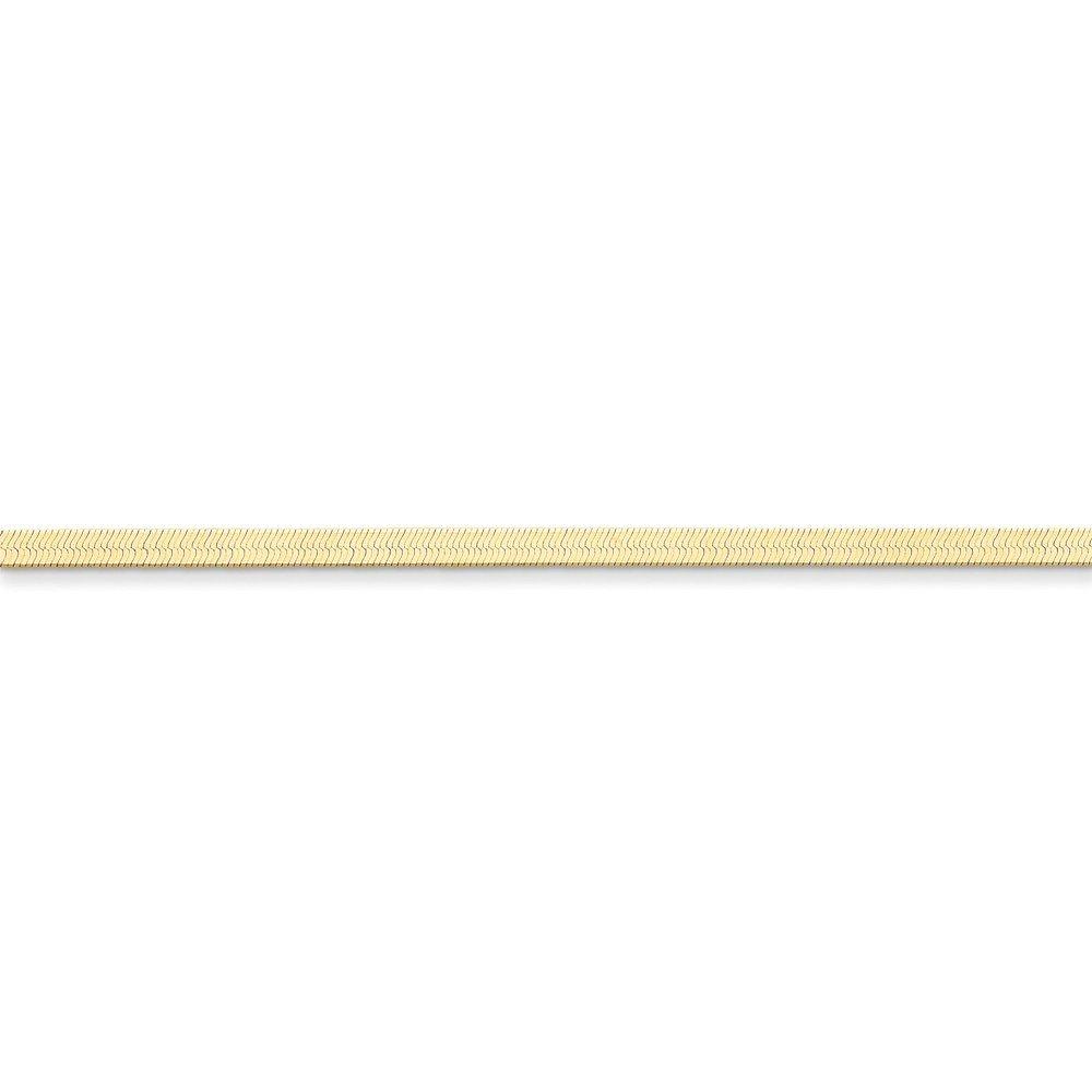 14K Yellow Gold 3.0mm Silky Herringbone Chain Bracelet, 8'' by Mireval
