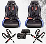 STV Motorsports V-Type 5 Point Racing Harness Set Latch and Link 3 inch Safety Seat Belt for Off-Road racing, UTV, Trucks, Side by Side 2 PCS (Black)