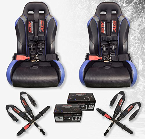 STV Motorsports V-Type 5 Point Racing Harness Set Latch and Link 3 inch Safety Seat Belt for Off-Road racing, UTV, Trucks, Side by Side 2 PCS (Jeep Racing Seats)