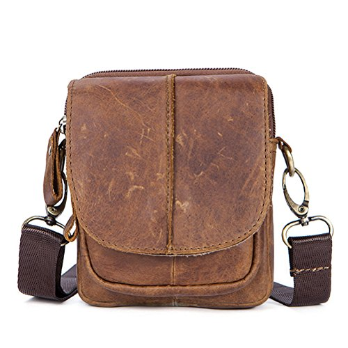 ida Leather Waist Fanny Pack Vintage Crossbody Bag for Men Boys ()