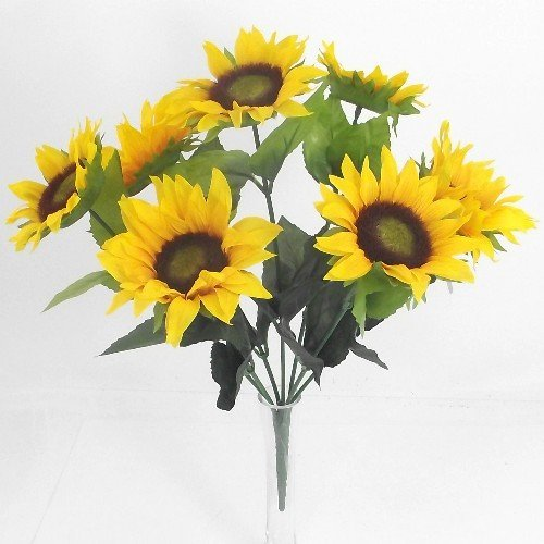 41cm Artificial Silk Flowers Yellow Sunflower Bush by - Sunflower Bush