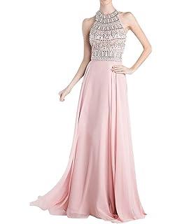 La Marie Braut Rosa Hochwertig Steine Schulterfrei Chiffon Abendkleider  Partykleider Feiernkleider Lang f3a1ed494a