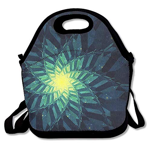 (Green Abstract Digital Fractal Art Insulated Waterproof Portable Lunch Tote Food Container Men, Women, Adults, Kids, Girls, Boys)