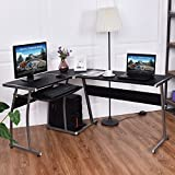 TANGKULA L Desk Office Home Corner Desk 44'' + 58'' PC Workstation Keyboard Tray CPU Stand Wood & Steel Frame Writing Table Modern L-Shaped Computer Desk, Black