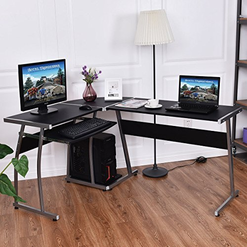 TANGKULA L Desk Office Home Corner Desk 44'' + 58'' PC Workstation Keyboard Tray CPU Stand Wood & Steel Frame Writing Table Modern L-Shaped Computer Desk, Black by TANGKULA