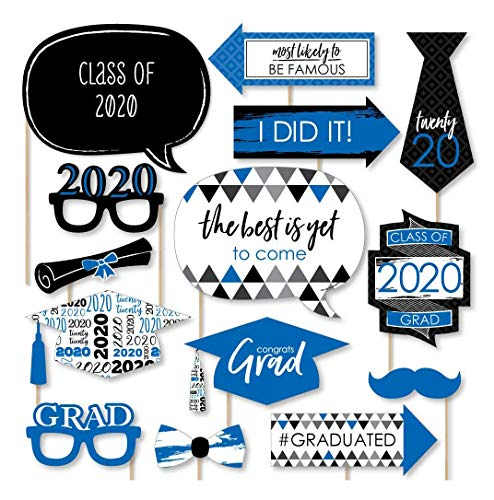 Big Dot of Happiness Blue Grad - Best is Yet to Come - Royal Blue 2020 Graduation Party Photo Booth Props Kit - 20 Count