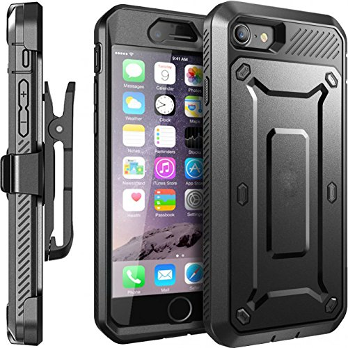 iPhone 7 Case, Moona Hybrid Full Armor Protective Shockproof Case Screen Protector + Belt Clip Holster Combo Case Cover for Apple iPhone 7 (Black)