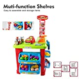 Pretend Play Supermarket Play Set Grocery Store Supplies Includes Toy Cash Register with Scanner, Checkout Counter, Play Foods & Shopping Basket for Children 3 Years Old and Up