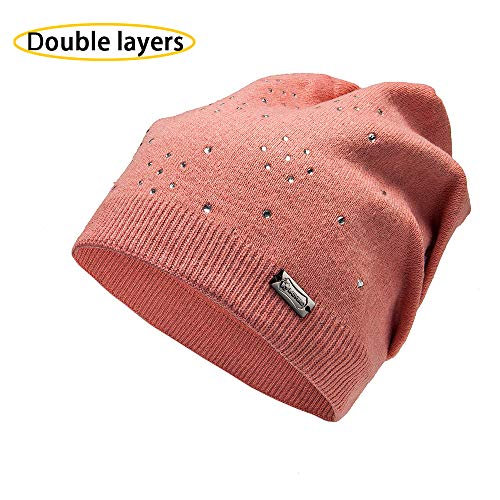 (LADYBRO Wool Slouchy Beanie Knit Hats for Women Double Layers Winter Skull Caps)