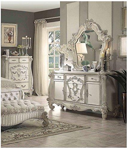Simple Relax 1PerfectChoice Versailles Bone White 5-Drawer 2-Door Dresser And Mirror