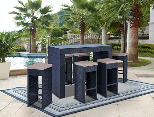 Kailua Furniture RAVA (7 Piece Set) Modern Outdoor All-Weather Wicker Bar Table with Glass Top & Stools with Removable Cushion Covers (Black/Beige) - Set Bench Stool