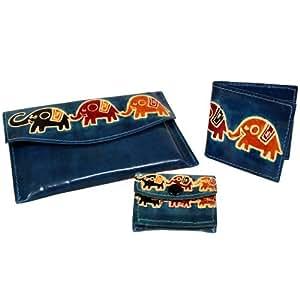 Juego de cuero - elefantes - Bernier. Set de 3: bolso: 16 cm x 11 cm; Tipo: 8,5 cm x 8 cm; Bolsa: 7 cm x 5,5 cm - Un regalo perfecto, para cumpleaños, Navidad......