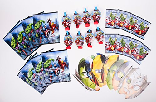 Avengers Birthday Party Favor Bundle Pack - Masks, Blowouts, Lootbags, Invites (Avengers Party Favours)