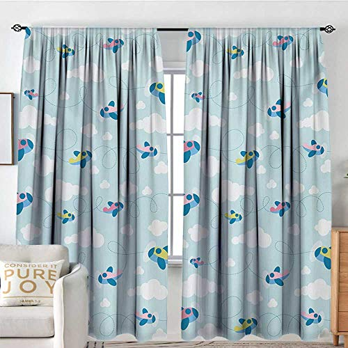 Pattern Curtains Kids,Cartoon Style Sky with Airplanes and Clouds Swirls Scrapbook Design Pattern,Baby Blue Pink White,All Season Thermal Insulated Solid Room Drapes 100
