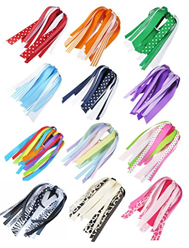HipGirl Hair Bow Ribbon Streamer Ponytail Holder, Thick Hair Tie, Crease Free Hair Ties, Ouchless Elastic Rubber Band For Girl Woman Baby Teen Kid Toddler Adult, 12pc, 7 Inch Long - Hair Ribbon