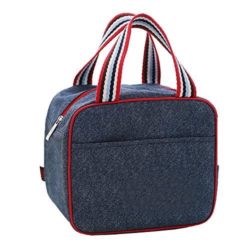 Bag Toy Denim (Insulated Lunch Bag Cooler Tote Bags For Women Men Kids, Travel Picnic Foods Box Drinks Thermal Carry Bag Container Organizer Case Handbag (Square Blue&Red stripe straps, 8.7x5.7x7.5inch))