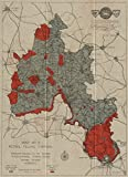 OXFORDSHIRE PETROL FILLING STATIONS. Red=filling stations prohibited - 1931 - old map - antique map - vintage map - Oxfordshire maps