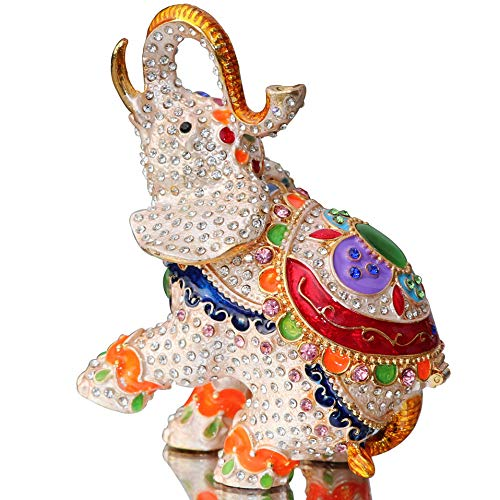 Crystal Elephant Trinket Box - Waltz&F Cute Big Elephant Trinket Box Hinged Hand-Painted Figurine Collectible Ring Holder