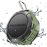 AncordWorks Bluetooth shower speaker Water Resistance 5W Driver 23 Hours Playtime with 8G TF Card/Card Reader/Suction Cup/Carabiner/DC Charger Black/Army Green