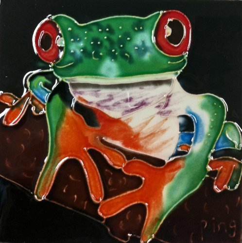 Frog Tile (Continental Art Center SD-097 4 by 4-Inch Frog No.7 Ceramic Art Tile)