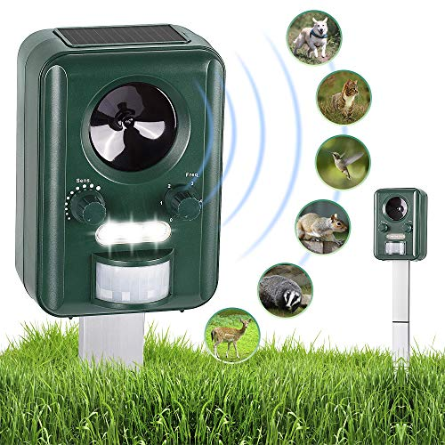 ABCO Solar Powered Ultrasonic Animal Repellent – Electronic Outdoor Animal Pest Repeller Deterrent - Repel Dogs Cats Squirrels Deer Birds Wild Animals – Activated Motion PIR Sensor & Flashing Light