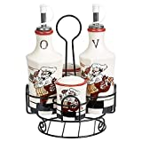 Lorren Home Trends Chef Elegant 5-Piece Condiment Charming Set, Ceramic/Metal, Perfect For Keeping Essentials At Hand