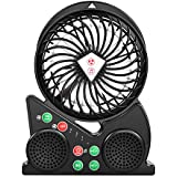 iTrustech Portable Bluetooth Speaker Wireless Dual Speakers Mini Fan Personal Fans Desktop for iPhone iPad Samsung Nexus HTC Nokia and More Bluetooth Devices (Black)