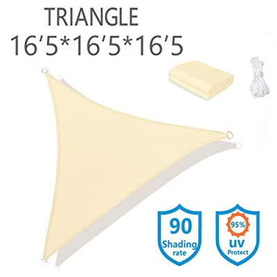 Sunnykud 16'5x16'5x16'5 Triangle Sun Shade Sail Ivory Canopy for Deck Pergola Shades Fabric Permeable Fabric Durable UV Block 185 GSM Perfect for Outdoor Garden Patio Yard Deck Pergola : Garden & Outdoor