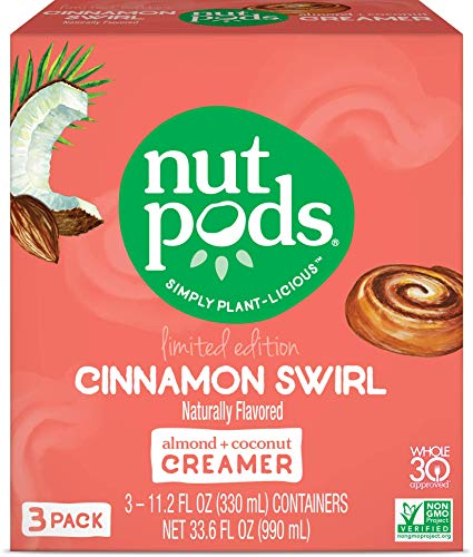 nutpods Cinnamon Swirl 3-pack, Unsweetened Dairy-Free Liquid Coffee Creamer Made From Almonds and Coconuts