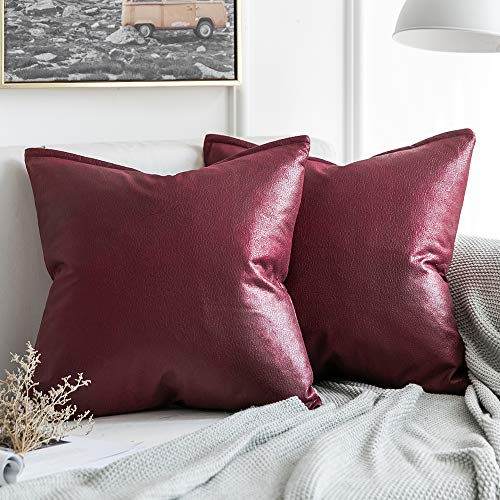 (MIULEE Pack of 2 Christmas Decorative Faux Leather Modern Pillow Cover Square Luxury Cushion Case Durable Throw Pillow Cover Shell for Couch Sofa Bed Living Room 18x18 Inch Wine Red)