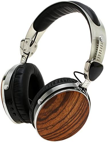 Symphonized Wraith 2.0 Bluetooth Genuine Wood Wireless Headphones with 3.5mm Cable Included for Wired Use. Zebra Wood
